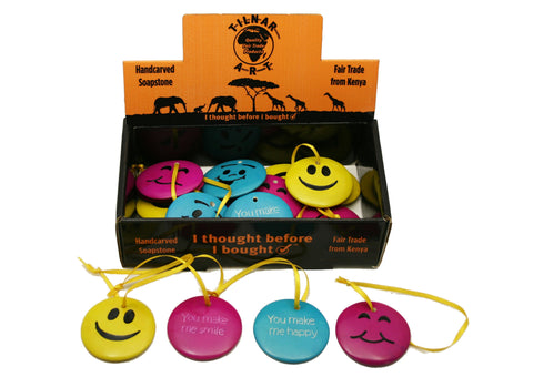 Hanging Happy Soapstone Smileys 5 cm (24 display box - min 24)