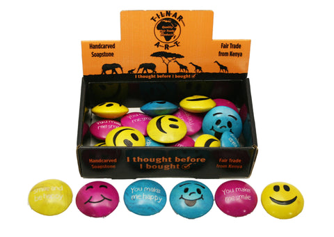Happy Soapstone Smileys 5 cm (24 display box - min 24)