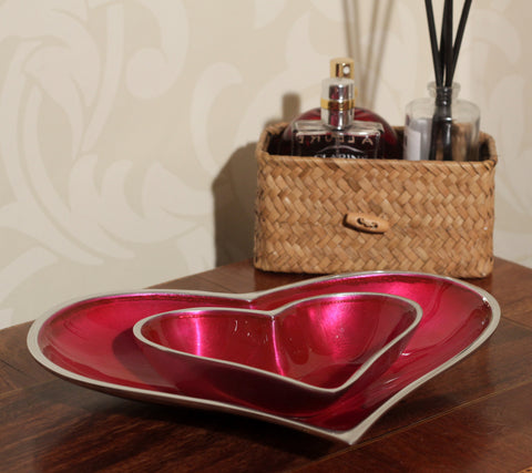 Pink Heart Dish Large (min 4)