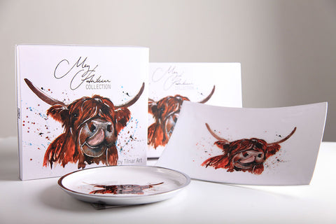 Highland Cow Round Plate 20 cm (Trade min 4 / Retail min 1)