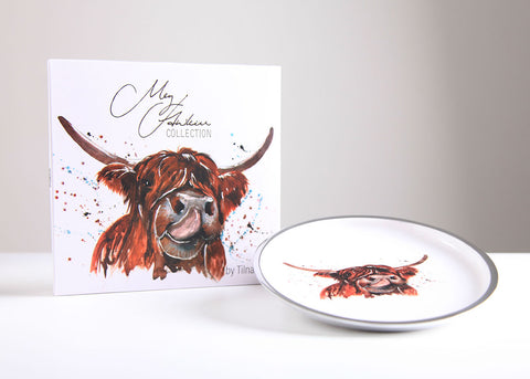 Highland Cow Round Plate 20 cm (trade min 4)