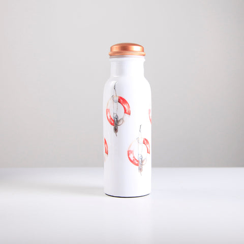 Life Buoy Pattern Copper Water Bottle 750ml  (min 4) ***In Stock April 2020 - Pre-Order Now***