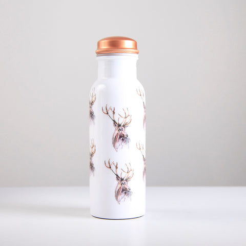 Stag Pattern Copper Water Bottle 750ml  (trade min 4)