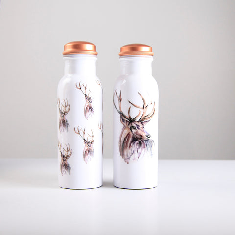 Stag Pattern Copper Water Bottle 750ml (Trade min 4 / Retail min 1)
