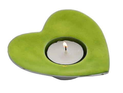 Lime Heart T-Light Holder (min 4)