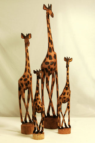 Hand Carved Wooden Giraffe 48""