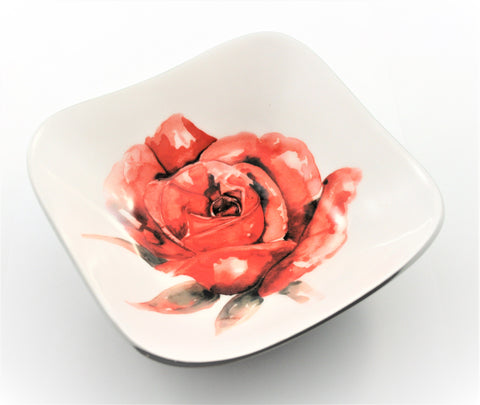 Red Rose Square Bowl (min 4) (New Product in Stock April 2019)