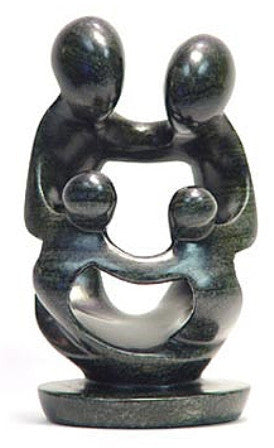 Abstract Soapstone Family of Four 25 cm