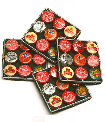 Recycled Bottle Top Coasters Set of Four 12cm