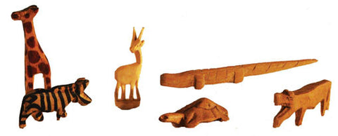Set of 6 Mini Hand Carved Wooden Animals