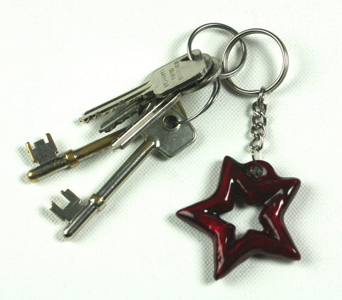 Red Aluminium Star Keyring (trade min 6