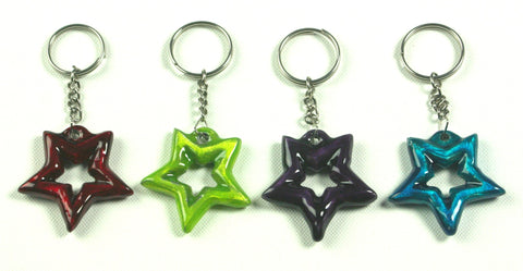 Purple Aluminium Star Keyring (min 12)