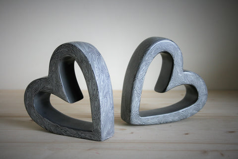 Champagne Grey Twin Slanted Hearts 15cm (min 1) *In Stock From April 2018*