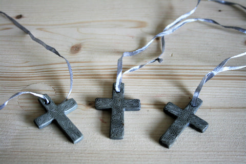 Champagne Grey Hanging Cross Small 5cm (min 24) *In Stock From April 2018*