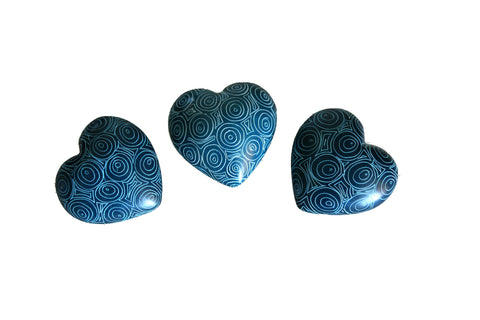 Peacock Blue Hearts 3cm (24 per display box - min 24) *In Stock From April 2018*