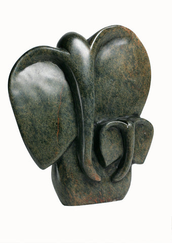 Abstract Soapstone Elephant Mother & Baby 8""