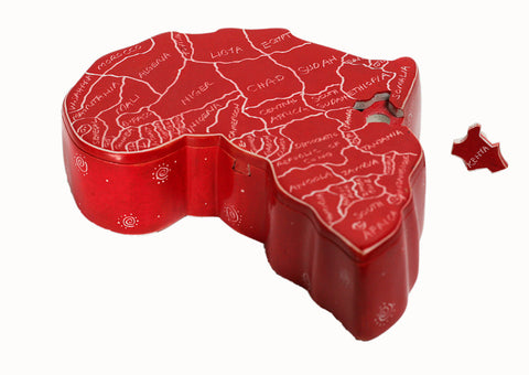 Africa Map Secret Trinket Box