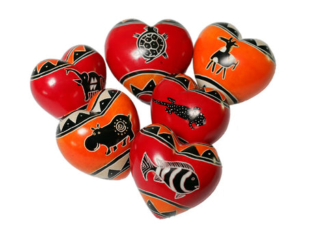 Animal Design Hearts 4 cm (24 per display box - min 24)