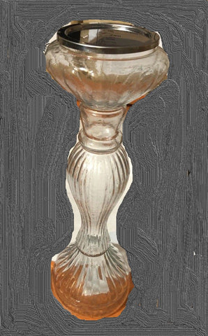 Large Glass Candlestick (trade min 6) approx 25cm