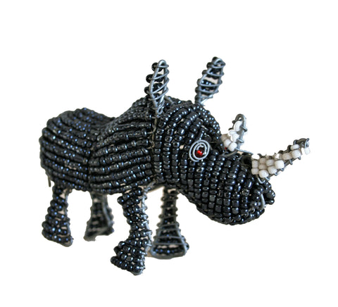 Beaded Grey Rhino 10 cm (min 2) *In Stock From April 2018*