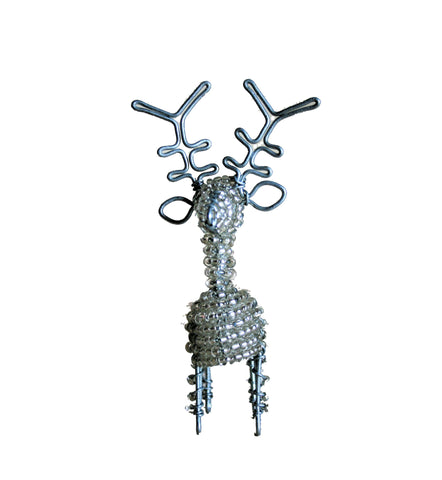 Beaded Silver Reindeer Small 10 cm (min 6)