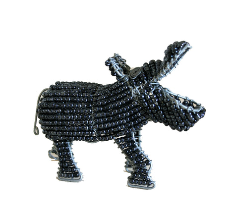 Beaded Grey Hippo 10 cm (min 2) *In Stock From April 2018*