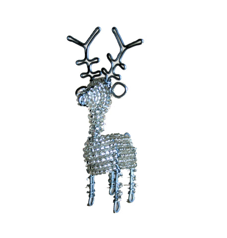 Beaded Silver Reindeer Large 18 cm (min 2) *In Stock From April 2018*