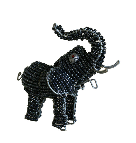 Beaded Grey Elephant 10 cm (min 2)