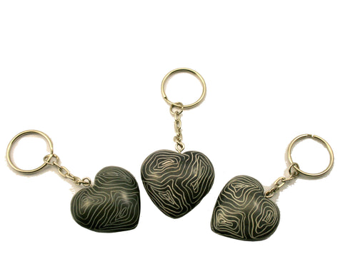 Champagne Grey Heart Keyrings (24 per display box - min 24)
