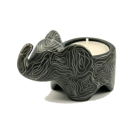 Champagne Grey Elephant Tealight 10cm (trade min 3)