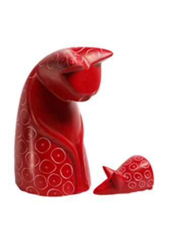 Coloured Stone Cat & Mouse (trade min 6)