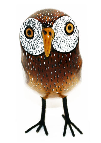 Painted Wooden Owl Large (min 2)