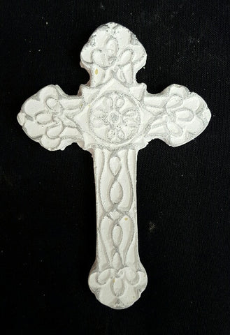Medium White & Silver Cross 18 cm (min 12) **NEW PRODUCT FOR 2017**