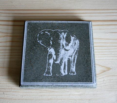 Elephant White Set of 4 Coasters (min 4)