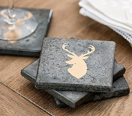 Gold Stag Set of 4 Coasters (min 4)