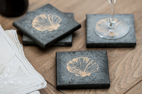 Gold Shell Set of 4 Coasters (Trade min 4 / Retail min 1)