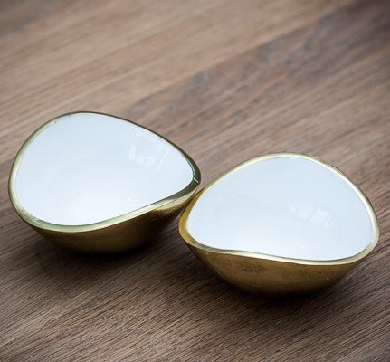 Gold & White Oval Bowl Mini (trade min 4)