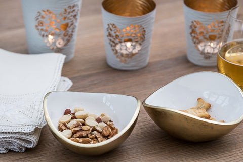 Gold & White Oval Bowl Small (min 4)