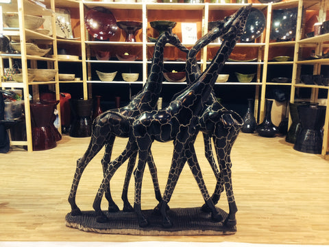 Hand Carved Shona Soapstone Giraffe Family Sculpture