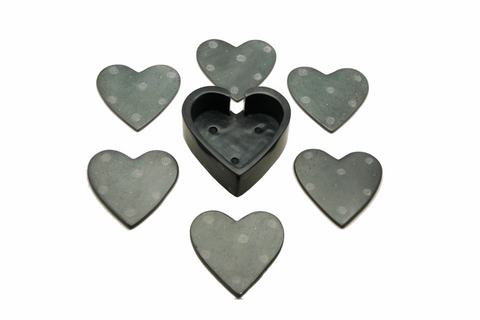 Black Heart Coasters - Set of 6 (min 4 sets)