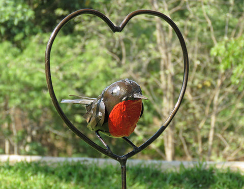 Robin Heart Centred Plant Stake (New March 2018)
