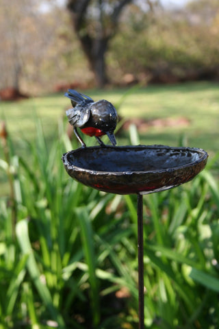 Standing Centred Robin Bird Feeder / Bird Bath