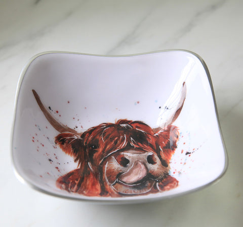 Highland Cow Square Bowl (Trade min 4 / Retail min 1)
