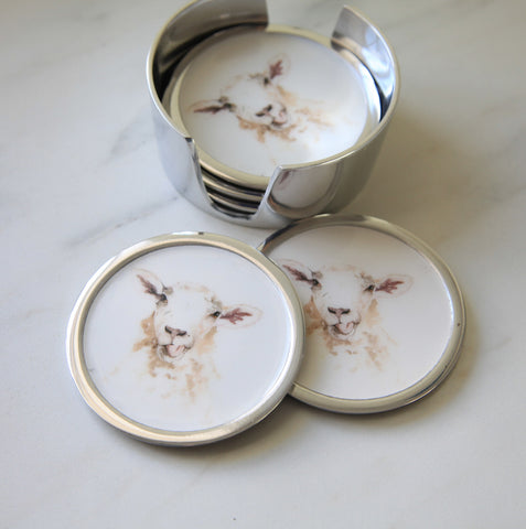 Sheep Coasters Set of 6 (min 4)