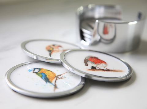 Garden Bird Coasters Set of 6 - 2 x Robin, 2 x Blue Tit, 2 x Goldfinch (min 4)