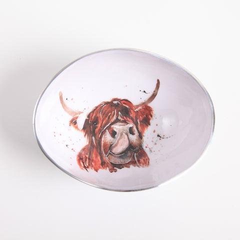 Highland Cow Oval Bowl Small (Trade min 4 / Retail min 1)