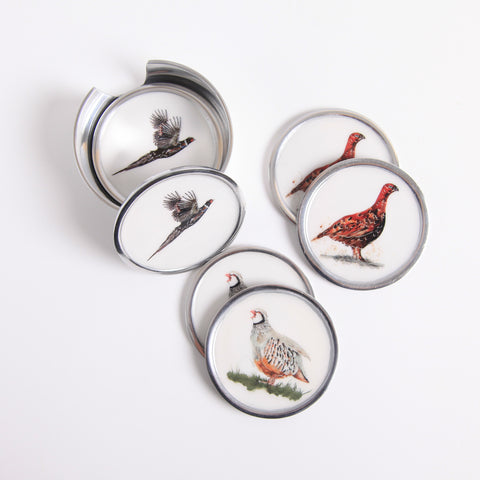 Game Bird Coasters Set of 6 - 2 x Pheasant, 2 x Partridge, 2 x Grouse (Trade min 4 / Retail min 1)