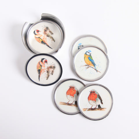 Garden Bird Coasters Set of 6 - 2 x Robin, 2 x Blue Tit, 2 x Goldfinch (Trade min 4 / Retail min 1)