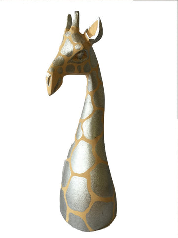 Silver Wooden Giraffe Head 20""