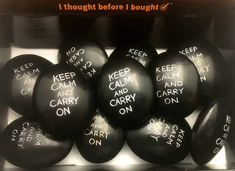 Black Keep Calm & Carry On Pebbles 6 cm (12 per display box - min 12)